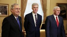 Supreme Court Nominee Judge Neil Gorsuch arrives for a meeting with Senate Majority Leader Mitch McConnell and U.S. Vice President Mike Pence on Capitol Hill in Washington.