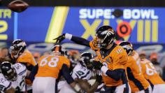 Denver Broncos quarterback Manning throws a pass against the Seattle Seahawks during the second quarter in the NFL Super Bowl XLVIII in East Rutherford