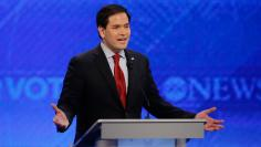 Republican U.S. presidential candidate Senator Marco Rubio speaks during the Republican U.S. presidential candidates debate sponsored by ABC News at Saint Anselm College in Manchester
