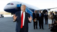 U.S. President Trump speaks after touring a Boeing 787-10 Dreamliner after the plane's debut in North Charleston