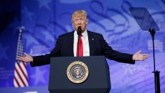 U.S. President Trump addresses CPAC in National Harbor, Maryland