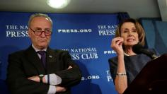 Senate Minority Leader Chuck Schumer and House Minority Leader Nancy Pelosi speak at the National Press Club in Washington