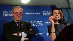 Senate Minority Leader Chuck Schumer and House Minority Leader Nancy Pelosi speak at the National Press Club in Washington