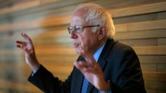 U.S. Democratic presidential candidate and U.S. Senator Sanders talks to reporters in New York City