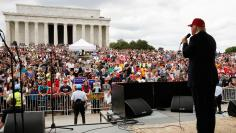 Republican U.S. presidential candidate Donald Trump addresses bikers as part of the Rolling Thunder speakers program at the Reflecting Pool near the Lincoln Memorial in Washington