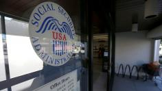 The entrance and logo of a Social Security Office in Pasadena