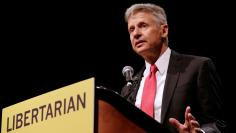 Libertarian Party presidential candidate Gary Johnson gives acceptance speech during National Convention held at the Rosen Centre in Orlando, Florida