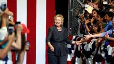 Democratic U.S. presidential candidate Hillary Clinton is introduced during a campaign event at the North Carolina State Fairgrounds in Raleigh