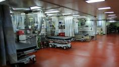 Emergency room beds are seen onboard the hospital ship USNS Mercy (T-AH 19) prior to its departure from Naval Base San Diego