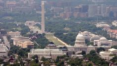 The skyline of Washington DC looking at the U.S. Capitol and the Mall