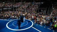 New York Mayor Bill de Blasio takes the stage at the Democratic National Convention in Philadelphia, Pennsylvania,