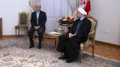 Iran's President Hassan Rouhani meets French foreign minister Laurent Fabius in Tehran