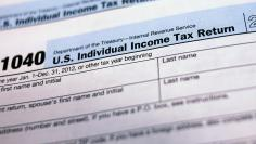 U.S. 1040 Individual Income Tax forms are seen in New York