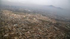 An aerial view of Kabul near Hamid Karzai International Airport
