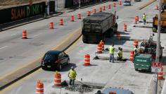 Road work and construction is done on the streets of Peoria, Illinois