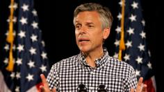Jon Huntsman speaks at a rally after announcing his candidacy for the Republican U.S. presidential 2012 campaign in Exeter