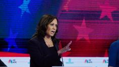 Senator Kamala Harris speaks during the second night of the first U.S. 2020 presidential election Democratic candidates debate in Miami, Florida, U.S.