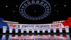 The 12 candidates podiums stand ready before the fourth U.S. Democratic presidential candidates 2020 election debate in Westerville, Ohio