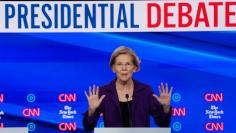 FILE PHOTO: Democratic presidential candidate Senator Elizabeth Warren speaks during the fourth U.S. Democratic presidential candidates 2020 election debate at Otterbein University in Westerville, Ohio U.S.