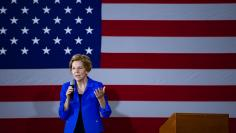 Democratic presidential candidate Sen. Elizabeth Warren, D-Mass., speaks and takes questions at Roosevelt High in Des Moines