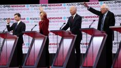 Candidates wait to speak during the sixth 2020 U.S. Democratic presidential candidates campaign debate at Loyola Marymount University in Los Angeles, California, U.S.