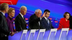 Democratic 2020 U.S. presidential candidates Tom Steyer, Elizabeth Warren, Joe Biden, Bernie Sanders, Pete Buttigieg and Amy Klobuchar participate in the seventh Democratic 2020 presidential debate in Des Moines