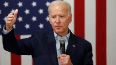 Democratic 2020 U.S. presidential candidate and former U.S. Vice President Joe Biden speaks at a campaign event at the VFW Post 7920 in Osage, Iowa