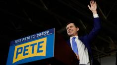 Democratic presidential candidate Pete Buttigieg speaks at an election night rally in Des Moines