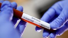 FILE PHOTO: Test tube with Corona virus name label is seen in this illustration picture