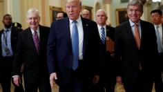 U.S. President Trump arrives for lunch meeting with Senate Republicans on Capitol Hill in Washington