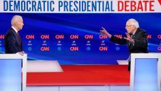Democratic U.S. presidential candidates Senator Bernie Sanders and former Vice President Joe Biden at the 11th Democratic candidates debate of the 2020 U.S. presidential campaign in Washington