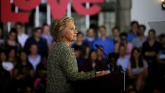 U.S. Democratic presidential candidate Hillary Clinton speaks during a campaign event at Temple University in Philadelphia