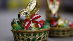 Easter baskets with easter chocolate bunnies and eggs are pictured at the Hauswirth confectioner factory in Kittsee, east of Vienna