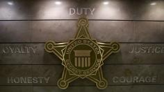 The U.S. Secret Service insignia is pictured on a wall at the Secret Service headquarters in Washington