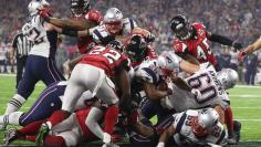 New England Patriots' James White crosses the line for a two-point conversion during the fourth quarter against the Atlanta Falcons st Super Bowl LI in Houston