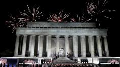 "Fireworks explode over the Lincoln Memorial after the ""Make America Great Again! Welcome Celebration"" concert at the National Mall in Washington"