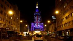 The Palace of Culture and Science is illuminated in Union Jack colours by Warsaw's capital authorities in support of Britain staying in the EU, in Warsaw