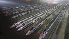 CRH380 Harmony bullet trains are seen at a high-speed train maintenance base in Wuhan