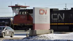 A locomotive moves through the CN railyards in Edmonton