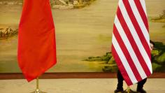 A U.S. flag is tweaked ahead of a news conference between U.S. Secretary of State John Kerry and Chinese Foreign Minister Wang Yi at the Ministry of Foreign Affairs in Beijing, Wednesday, Jan. 27, 2016. REUTERS/Jacquelyn Martin/Pool