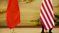 U.S. flag is tweaked ahead of a news conference between U.S. Secretary of State John Kerry and Chinese Foreign Minister Wang Yi at the Ministry of Foreign Affairs in Beijing