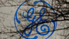 FILE PHOTO: The logo of a General Electric facility is seen behind tree branches in Medford