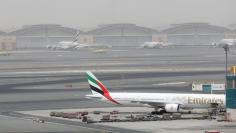 View shows Dubai International Airport after an Emirates Airline flight crash-landed