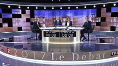 Nicolas Dupont-Aignan of Debout La France group attends a prime-time televised debate for the candidates at French 2017 presidential election in La Plaine Saint-Denis, near Paris, France, April 4, 2017. REUTERS/Lionel Bonaventure/Pool