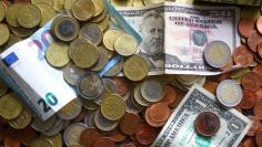FILE PHOTO: An illustration picture shows euro and US dollar banknotes and coins
