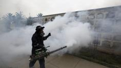 A health worker fumigates as part of preventive measures against the Zika virus and other mosquito-borne diseases, at the cemetery of Presbitero Maestro in Lima