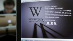 FILE PHOTO: A reporter's laptop shows the Wikipedia blacked out opening page in Brussels
