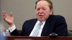 Las Vegas Sands Corp Chairman and CEO Adelson testifies on the witness stand at the Regional Justice Center in Las Vegas
