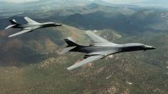 FILE PHOTO: A pair of B-1B Lancer bombers soar over Wyoming