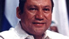 FILE PHOTO: Panamanian strongman Manuel Antonio Noriega takes part in a news conference at the Atlapa center in this file photo in Panama City